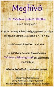 Dr. Mészáros István Emléktábla avató ünnepség @ Sümeg Kórház, Belgyógyászati osztály | Sümeg | Magyarország