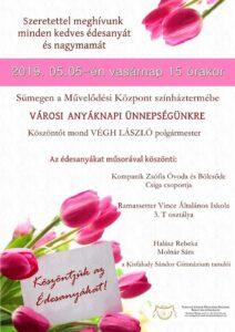Városi anyáknapi ünnnepség @ Kisfaludy Sándor Művelődési Központ