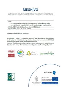 Balatoni Helyi Termék-fejlesztő Műhely projektnyitó rendezvény